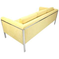 California Designer George Kasparian Yellow Velvet and Chrome Lounge Sofa