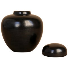 California Faience, Black Ceramic Lidded Jar, 1930s