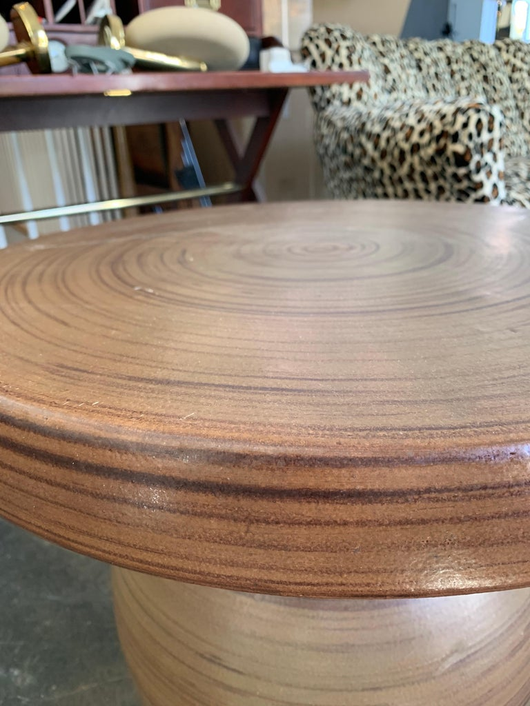 California Glazed Ceramic Circular Side Table In Good Condition For Sale In East Hampton, NY