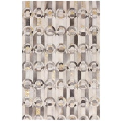 California Inspired Curvo Gray and Gold Cowhide Rug