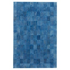 California Inspired Las Palmas Denim Laser Burn Cowhide Rug