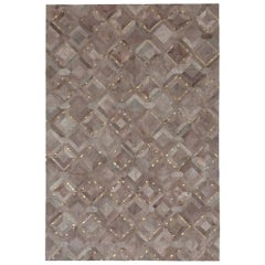 California Inspired Mosaica Fog and Gold Cowhide Rug