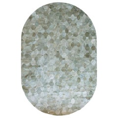 California Inspired Oleada Oval Moss Cowhide Rug