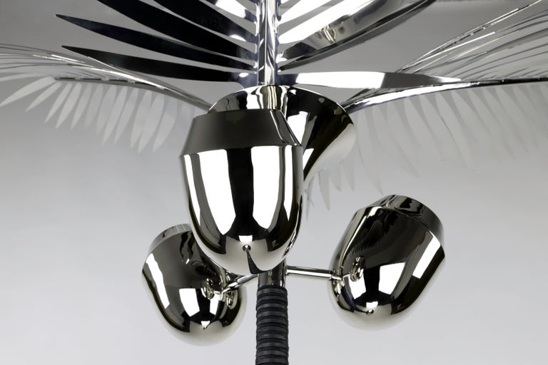 Organic Modern Royal Palm Tree Floor Lamp in nickel plated brass & leather by C.KREILING For Sale