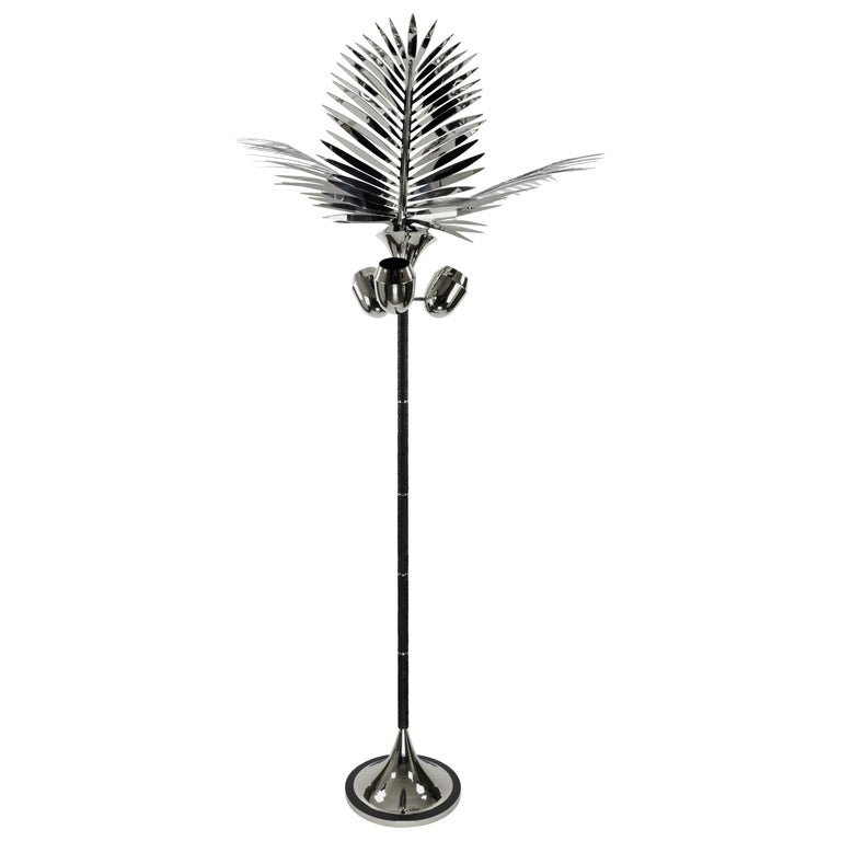 Royal Palm Tree Floor Lamp in nickel plated brass & leather by C.KREILING For Sale