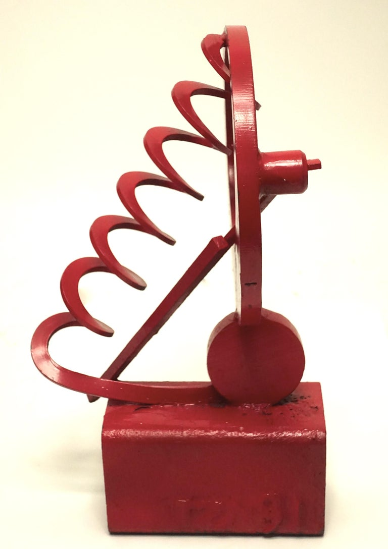 Modern Expressionist red painted welded iron abstract sculpture signed indistinct California, circa 1970s.