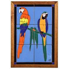 California Mission Arts & Crafts Style Ceramic Tile Plaque Parrot Design
