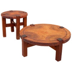 California Mission Era Leather and Nailhead Coffee and Side Table Set