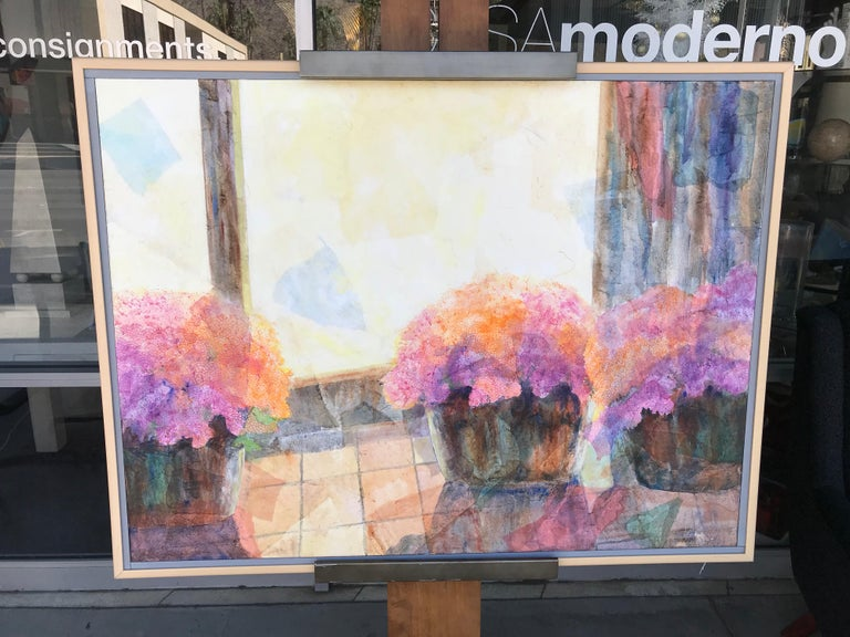 This beautiful modern painting came from a very upscale Palm Springs area estate. Very large, and bright vibrant colors. Nice original ready to hang.