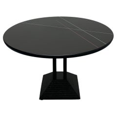 California Postmodern Round Dining Table with Color Lines by Peterson Design
