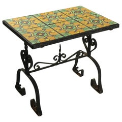 California School Wrought Iron Tile Top Table