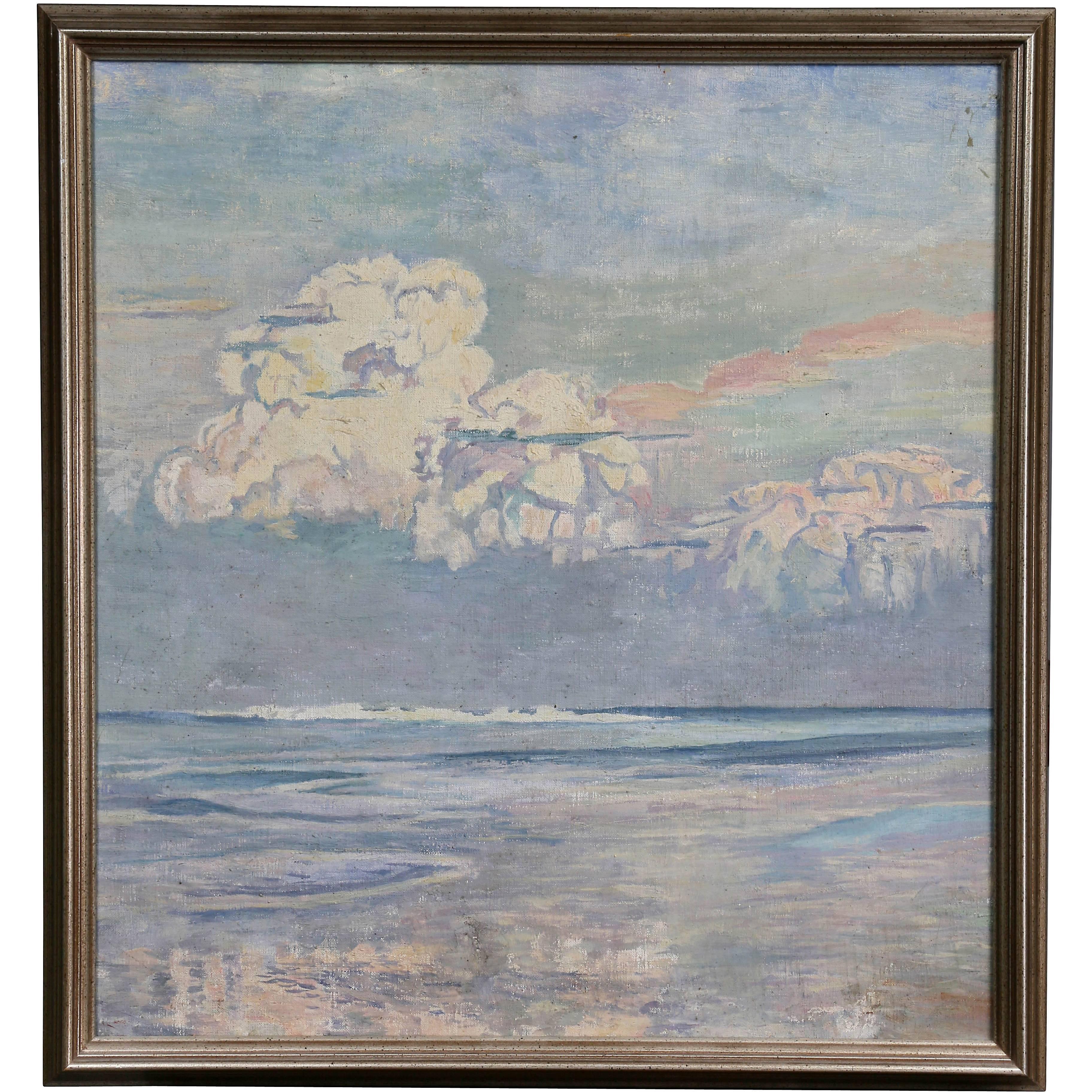 California Seascape Oil on Canvas by Martha Eleanor Nicholson Hurst