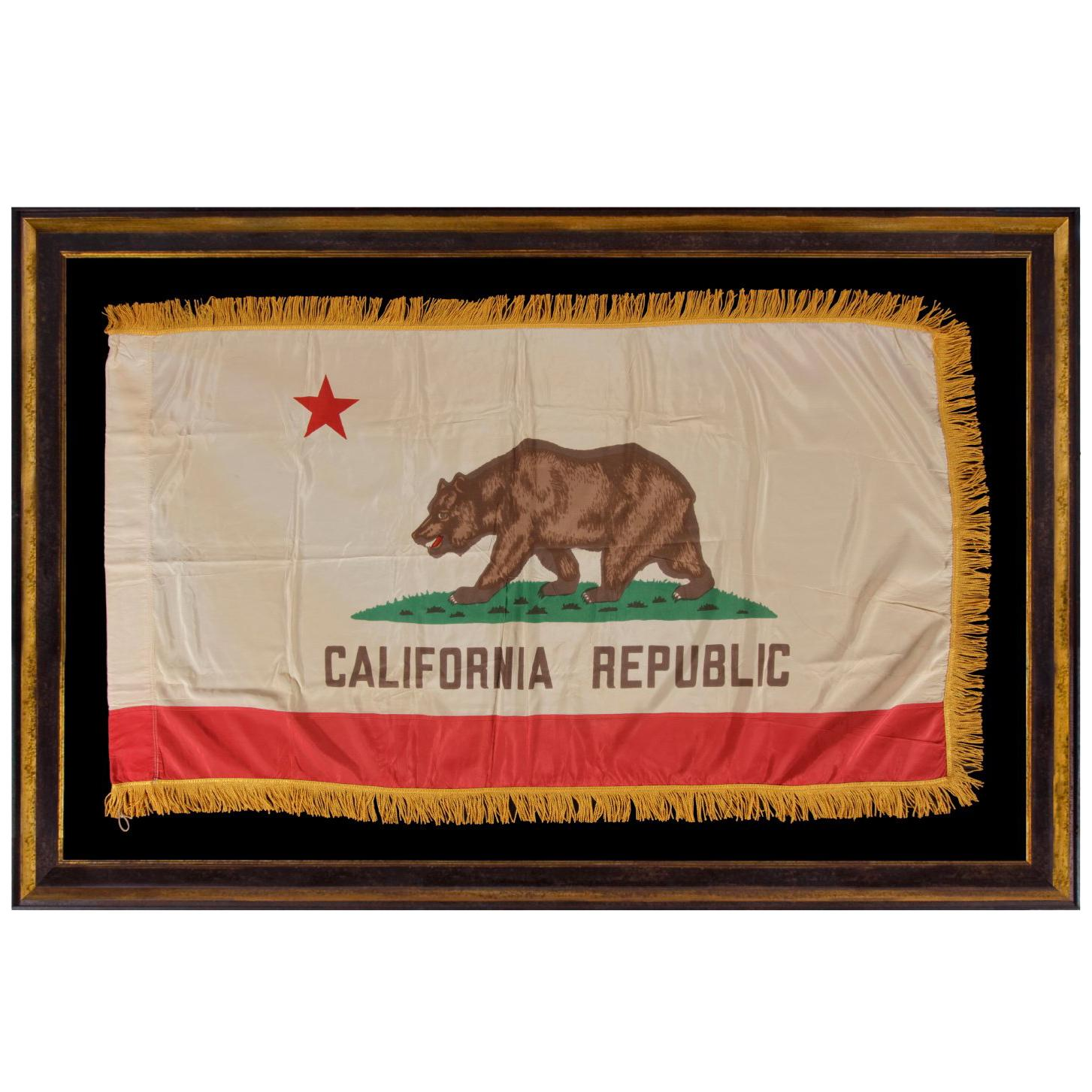 California State Flag with Gold Silk Fringe