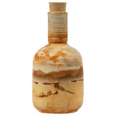 California Studio Pottery Bottle with Cork Stopper 'JB'