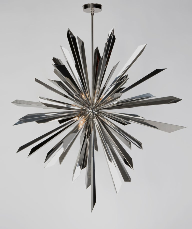 Plated California Sunburst 45 Chandelier designed by Tony Duquette for Remains Lighting For Sale