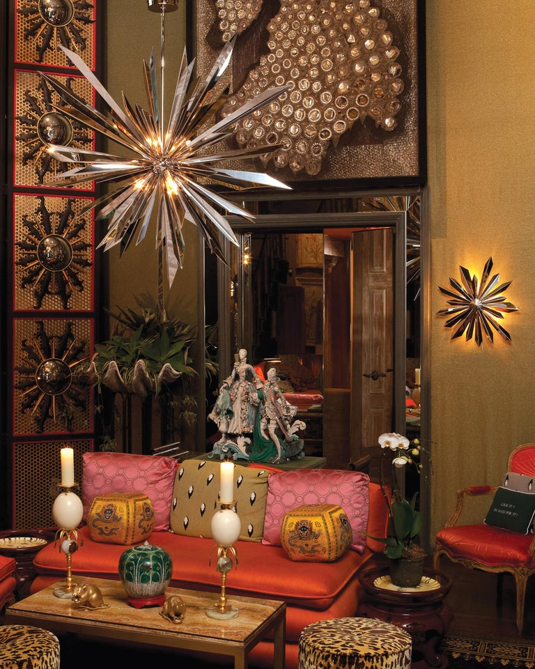 California Sunburst 45 Chandelier designed by Tony Duquette for Remains Lighting In New Condition For Sale In New York, NY