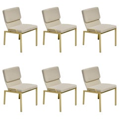 Californian Modern Dining Chairs in White Boucle Upholstery