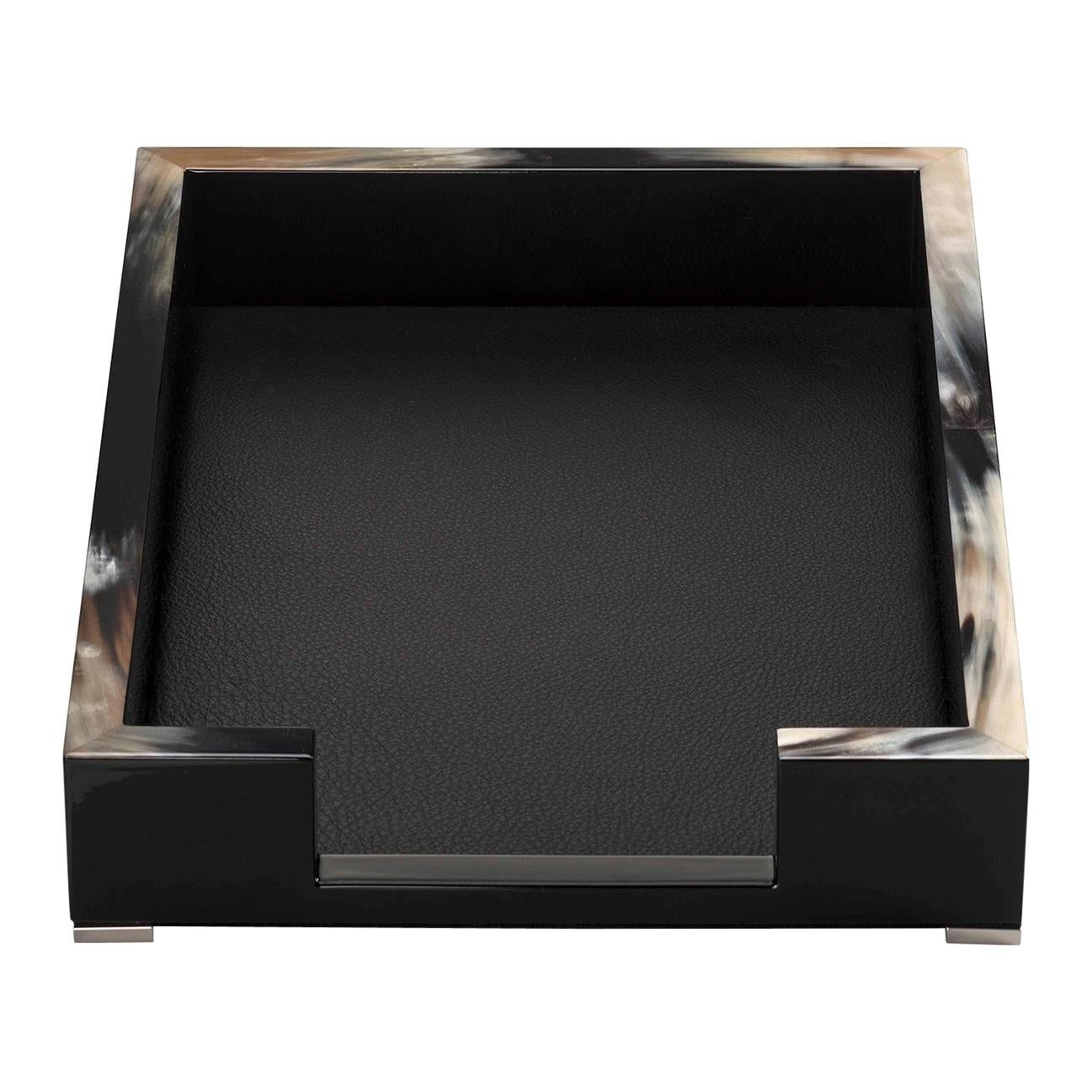 Calipso A4 Letter Tray in Corno Italiano, Lacquered Wood and Leather, Mod. 5303s