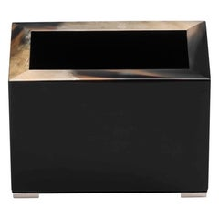 Calipso Pen Holder in Black Lacquered Wood with Corno Italiano Inlays, Mod 5305s