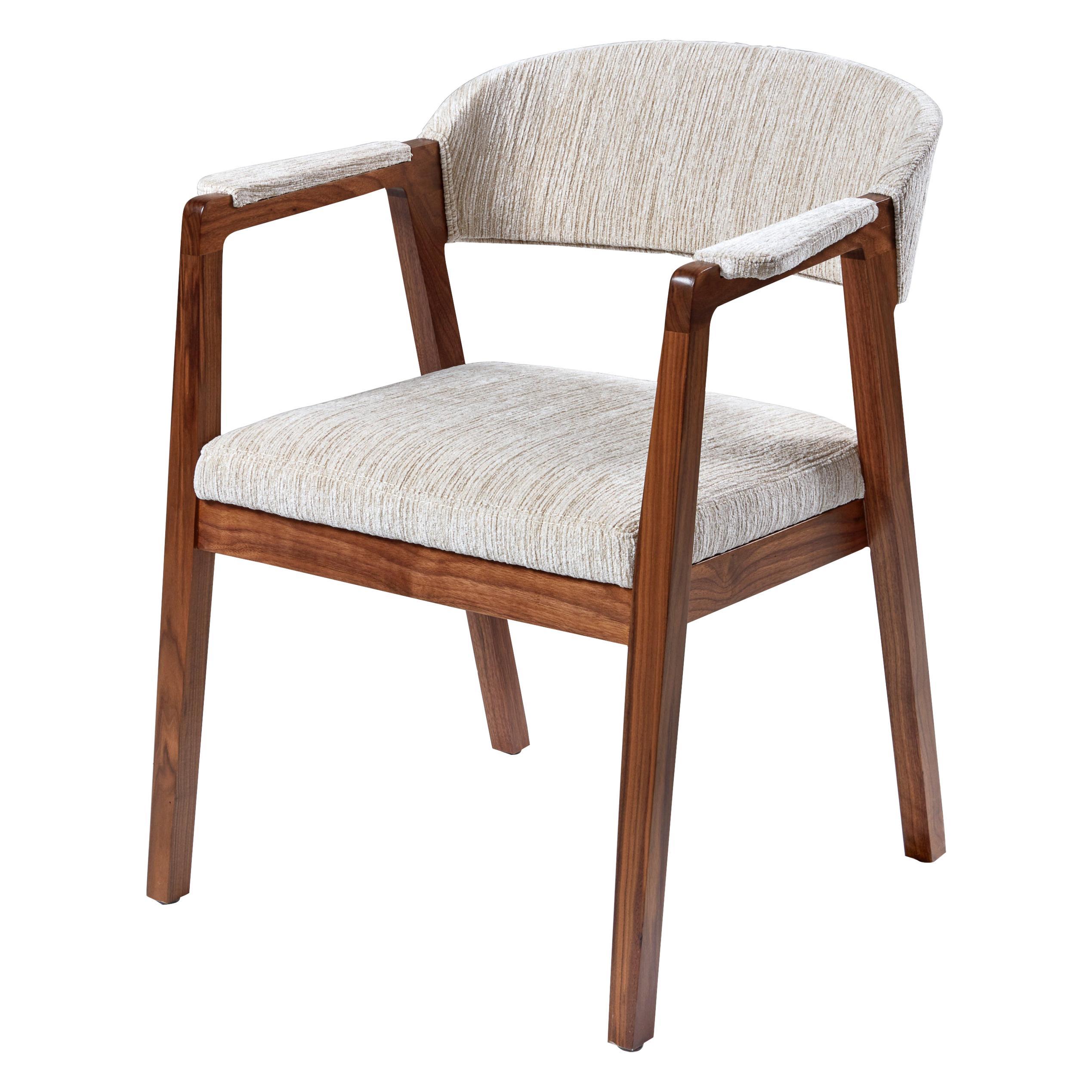 Calisto Armchair, Sleek Armed Dining Chair in Solid Walnut Wood