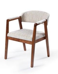 Calisto Armchair, Sleek Armed Dining Chair In Solid Walnut Wood.