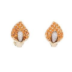 Calla Lily Earrings Citrine Diamond Estate Jewelry 14 Karat Yellow Gold Flowers
