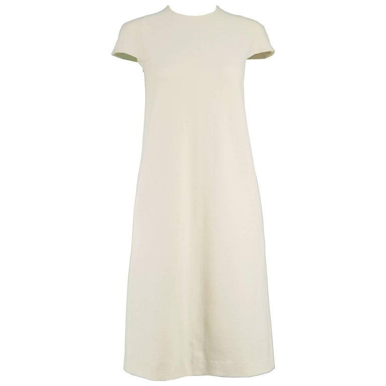 Callaghan Vintage Minimalist Architectural Cream Wool Shift Dress, 1990s