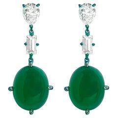"""Callas"" Titanium, Diamonds and Green Agate Earrings"