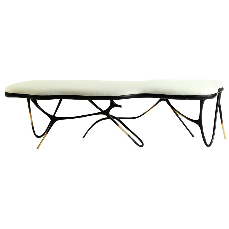 Calligraphic sculpted brass bench by Misaya Dimensions: W 158 x L 38 x H 40 cm Hand-sculpted brass table.  Misaya emulates Chinese ink paintings through the process of lost-wax casting.  Each piece in the Ink collection, which consists of a