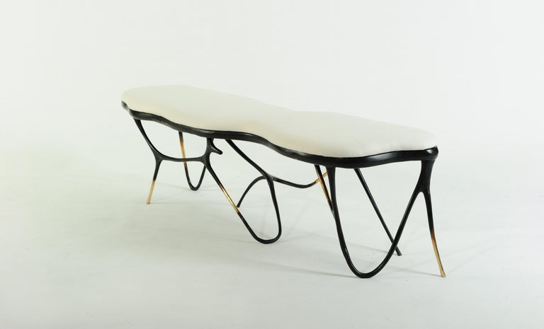 Post-Modern Calligraphic Sculpted Brass Bench by Misaya For Sale