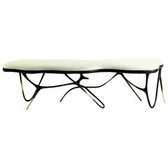 Calligraphic Sculpted Brass Bench by Misaya