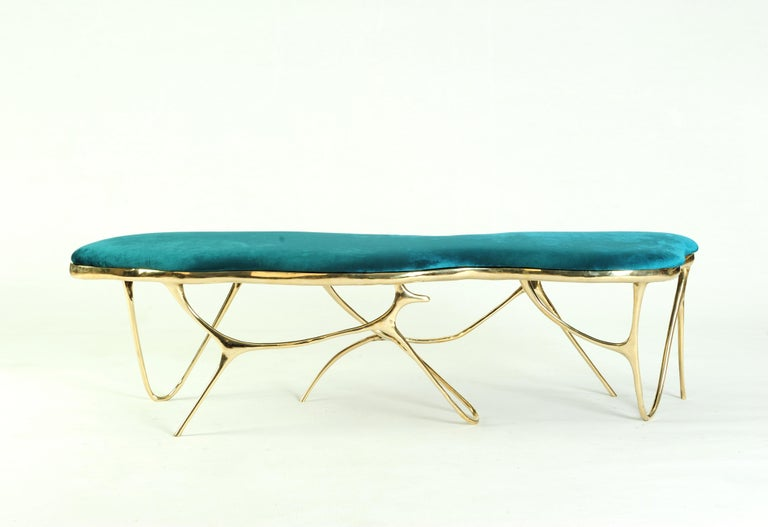 Thai Calligraphic Sculpted Brass Bench by Misaya For Sale