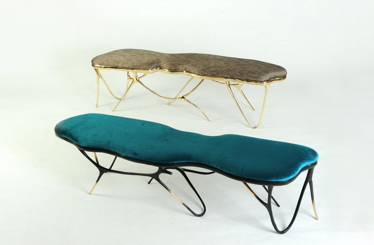 Calligraphic Sculpted Brass Bench by Misaya In New Condition For Sale In Collonge Bellerive, Geneve, CH