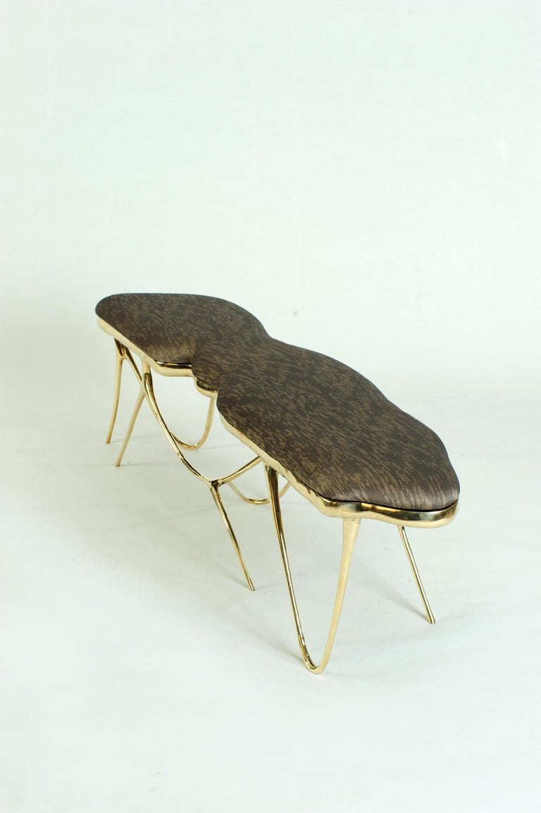 Contemporary Calligraphic Sculpted Brass Bench by Misaya For Sale