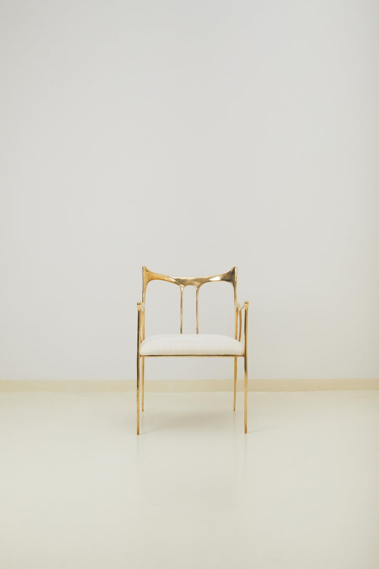 Calligraphic sculpted brass chair by Misaya Dimensions: W 58 x L 54 x H 79 cm Materials: Brass  Hand-sculpted brass chair.  Misaya emulates Chinese ink paintings through the process of lost-wax casting.  Each piece in the Ink collection,