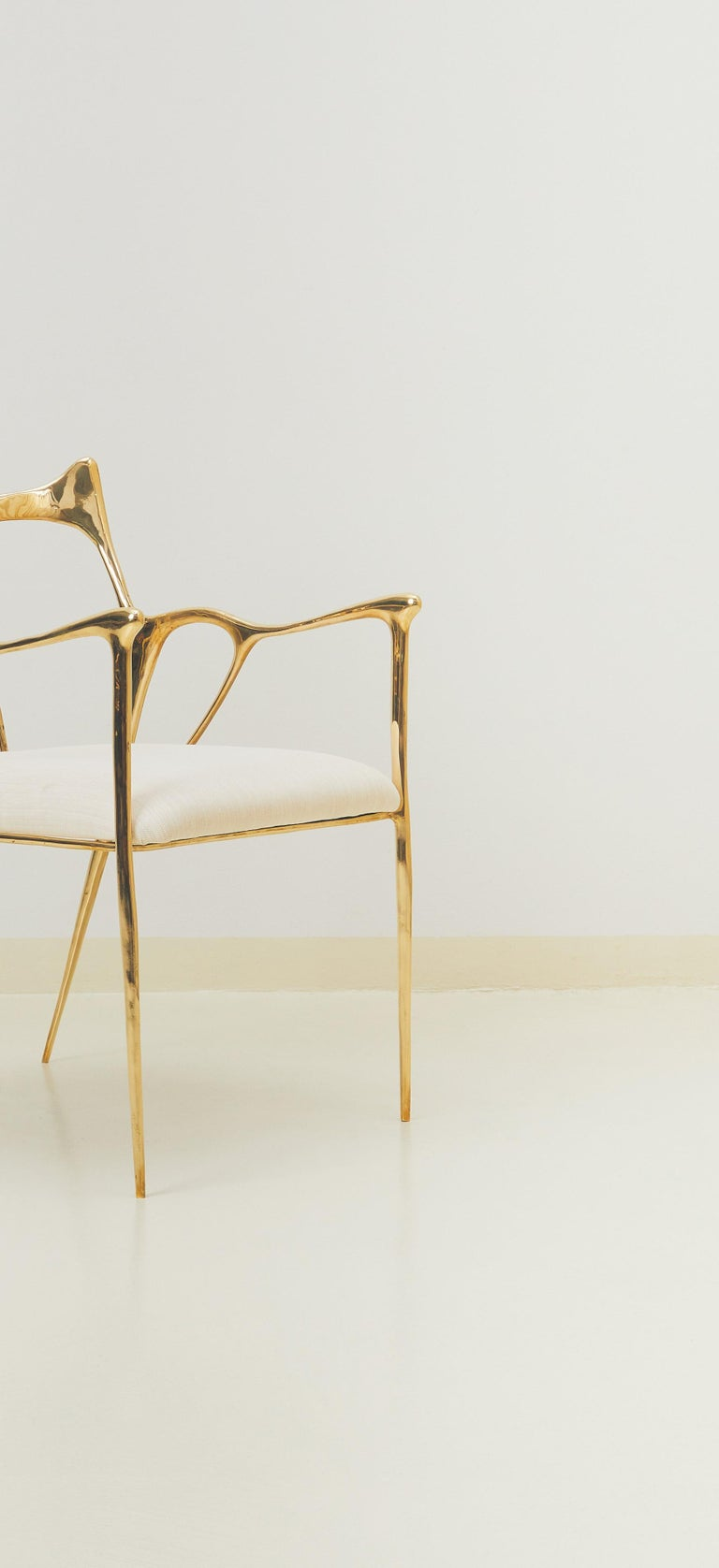 Thai Calligraphic Sculpted Brass Chair by Misaya For Sale
