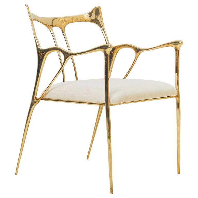 Calligraphic Sculpted Brass Chair by Misaya For Sale