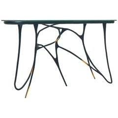 Calligraphic Sculpted Brass Console by Misaya