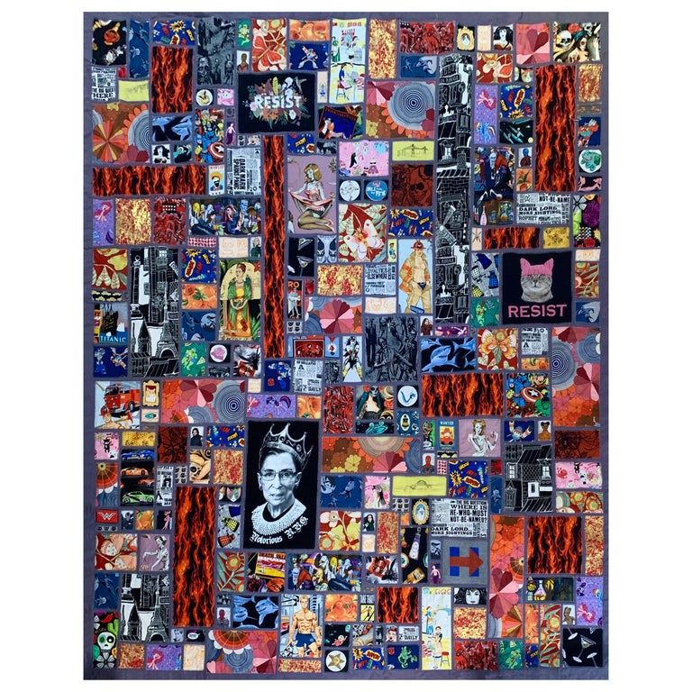 Calling All Superheroes, Handmade Quilt of Multi-Color Fabric Collage For Sale