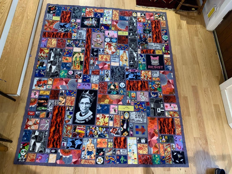 Folk Art Calling All Superheroes, Handmade Quilt of Multi-Color Fabric Collage For Sale