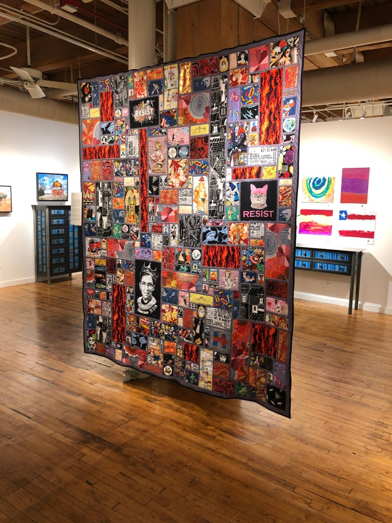 Calling All Superheroes, Handmade Quilt of Multi-Color Fabric Collage In New Condition For Sale In Chicago, IL