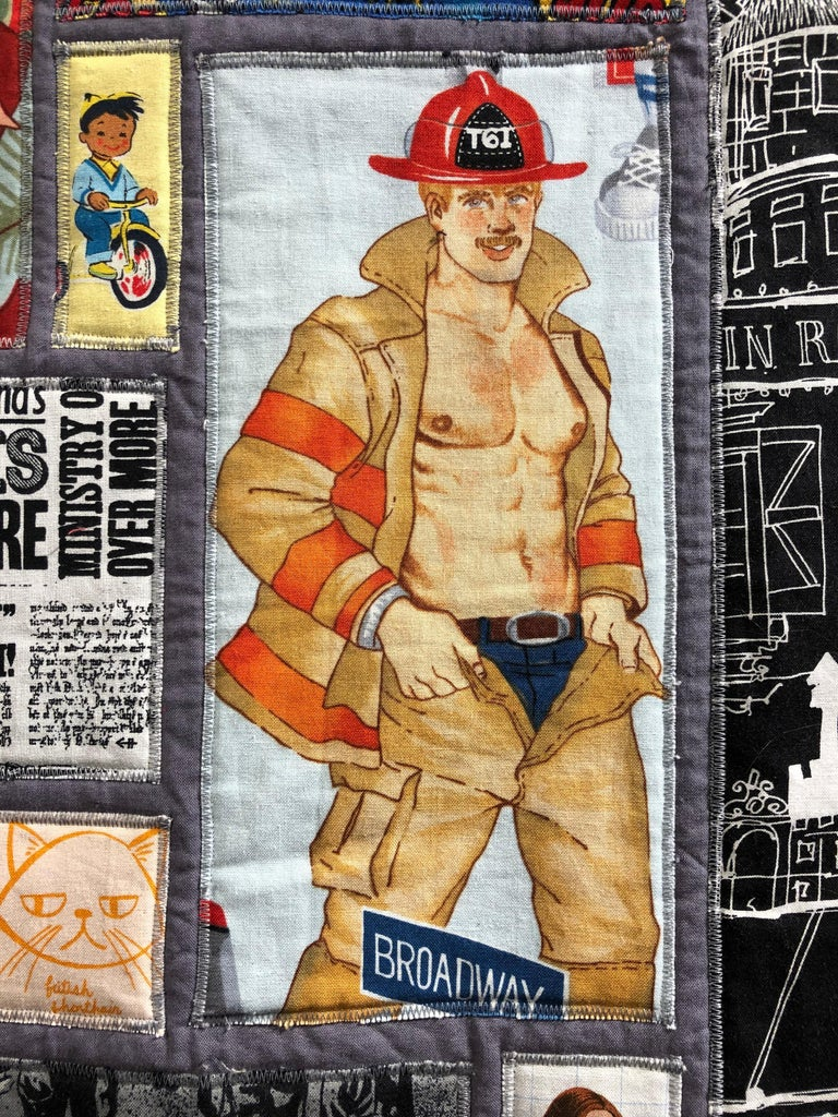 Contemporary Calling All Superheroes, Handmade Quilt of Multi-Color Fabric Collage For Sale