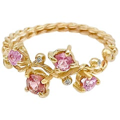 Calliope Pink Spinel and Diamond Twist Vine Half Ring 18 Karat