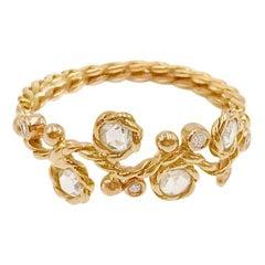 Calliope Rose Cut Diamond Four Stone Twist Vine Half Ring 18 Karat