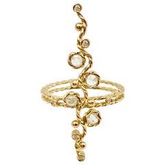 Calliope Rose Cut Diamond Vertical Wavy Bar Ring in 18k Gold