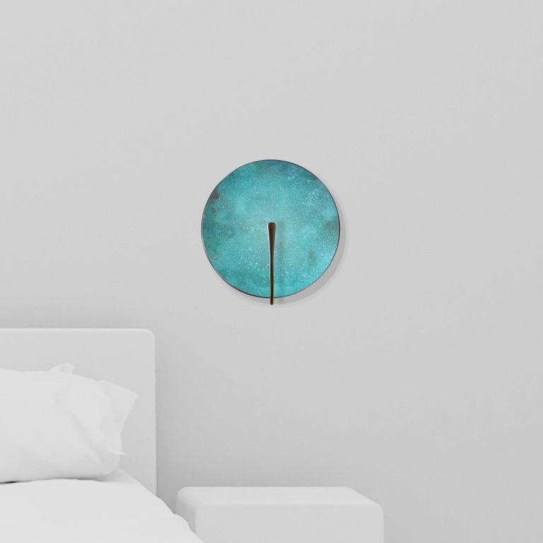 Organic Modern 'CALLISTO' Verdigris Patina Solid Brass Contemporary Wall Light Sconce For Sale