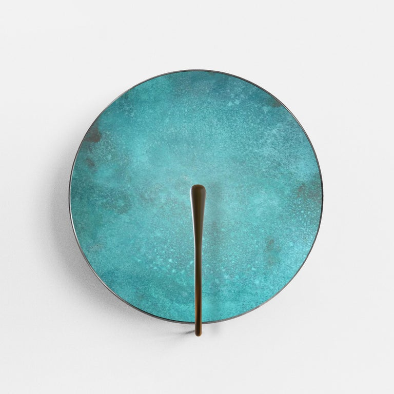 Brushed 'CALLISTO' Verdigris Patina Solid Brass Contemporary Wall Light Sconce For Sale