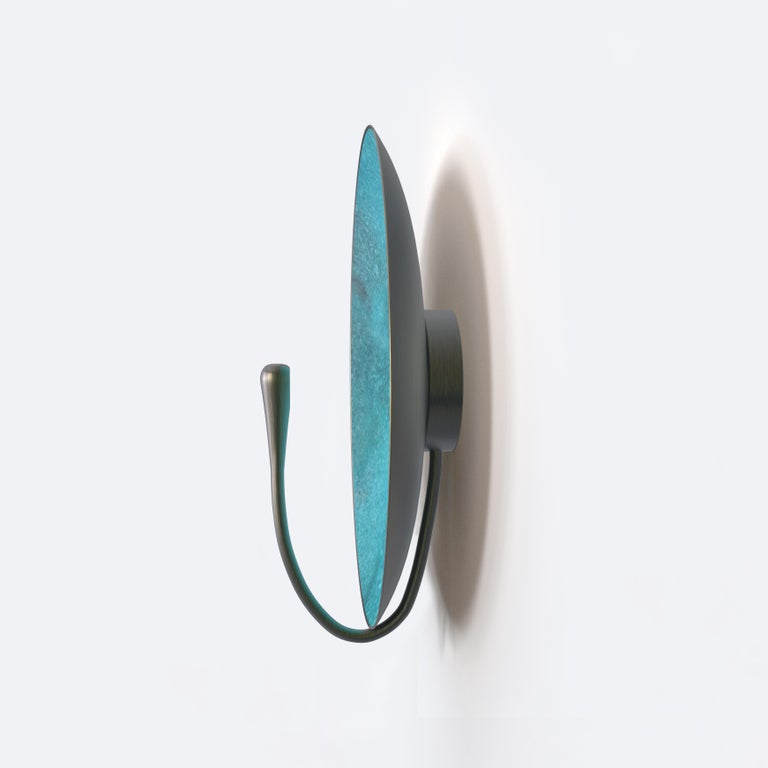 'CALLISTO' Verdigris Patina Solid Brass Contemporary Wall Light Sconce In New Condition For Sale In London, GB