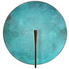 'Cosmic Verdigris' Patina Handmade Brass Contemporary Wall Light Sconce