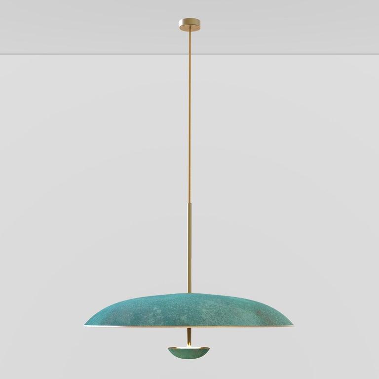 Organic Modern Cosmic 'Verdigris' Pendant Handmade Patinated Brass Ceiling Light, Chandelier For Sale